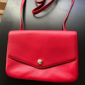 Talbots red leathers crossbody bag